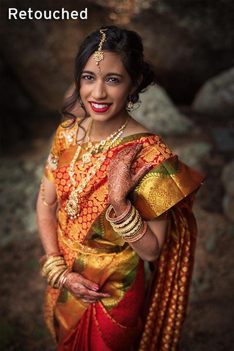 Indian bride in mountains wearing a sari