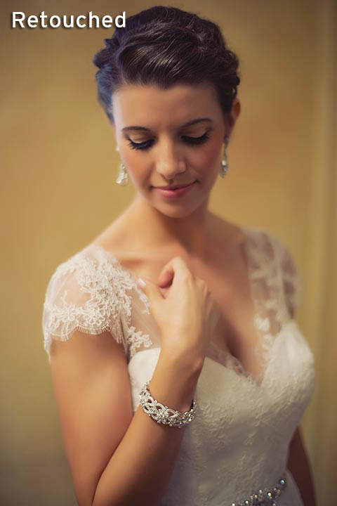 soft portrait of a bride before wedding ceremony